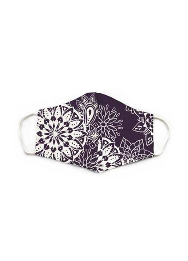 Eggplant Nose Wire Wide Print Face Mask - Eggplant - Front