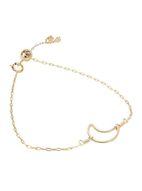 14k Gold Moon Bracelet - Gold - Front