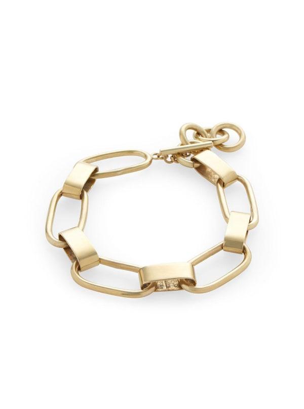 Handcrafted 24K Gold Plated Capsule Link Bracelet - Gold - Front
