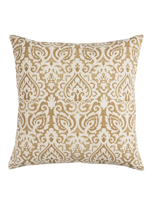 Damask Gold & Natural Throw Pillow - Gold - Front