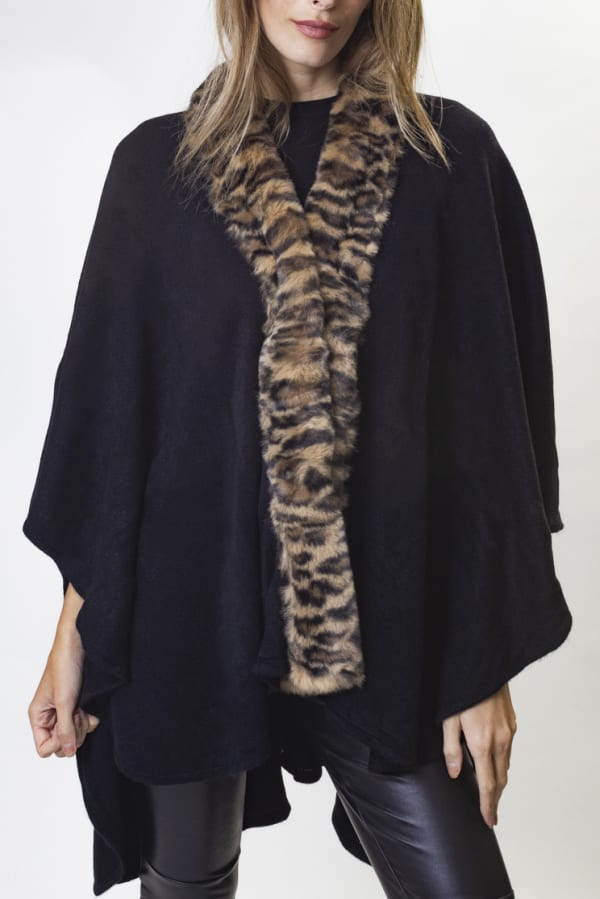 Adrienne Vittadini Solid Knit Kimono with Faux Mink Trim Border - Black / Leopard - Front