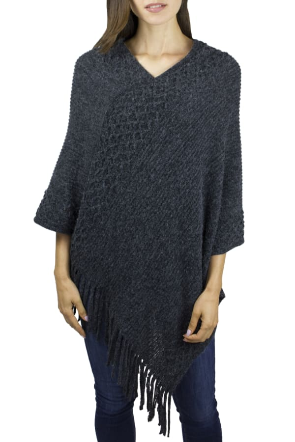 Adrienne Vittadini Solid Textured Poncho with Fringe - Charcoal - Front