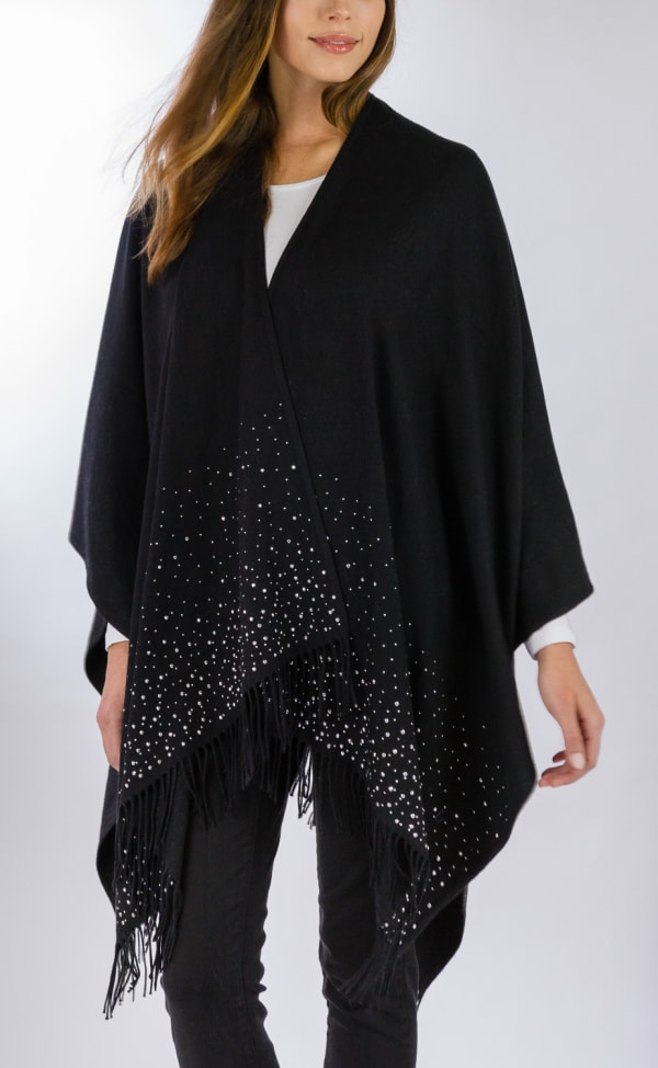 Adrienne Vittadini So soft Ruana with Silver Studs - Black - Front