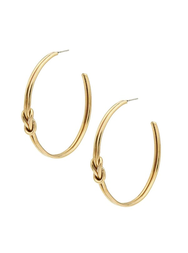 Handcrafted 24K Gold Plated Sayo Maxi Hoop Earrings - Gold - Front