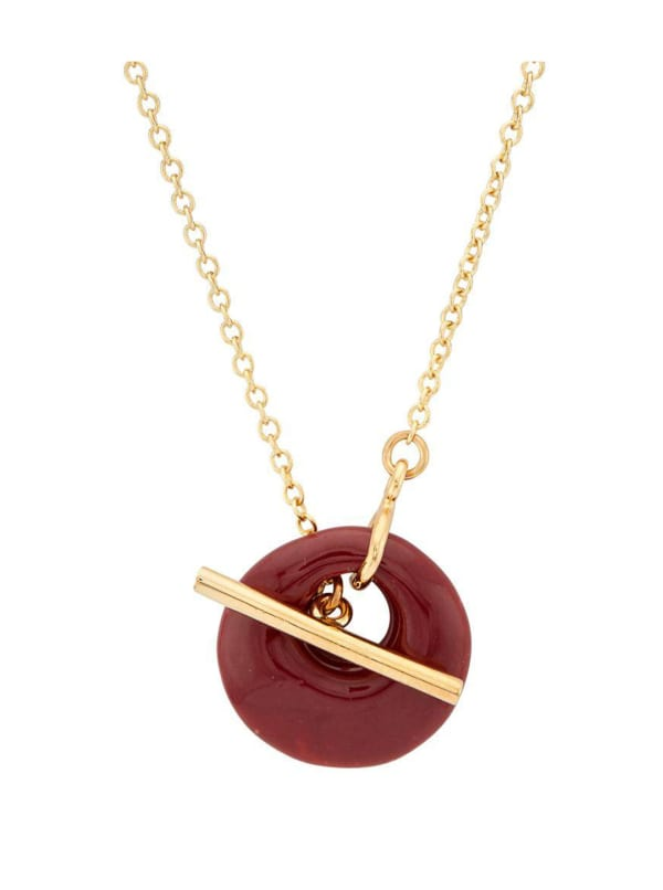 Handcrafted 24K Gold Plated Kazuri Lariat Necklace - Gold / Berry - Front