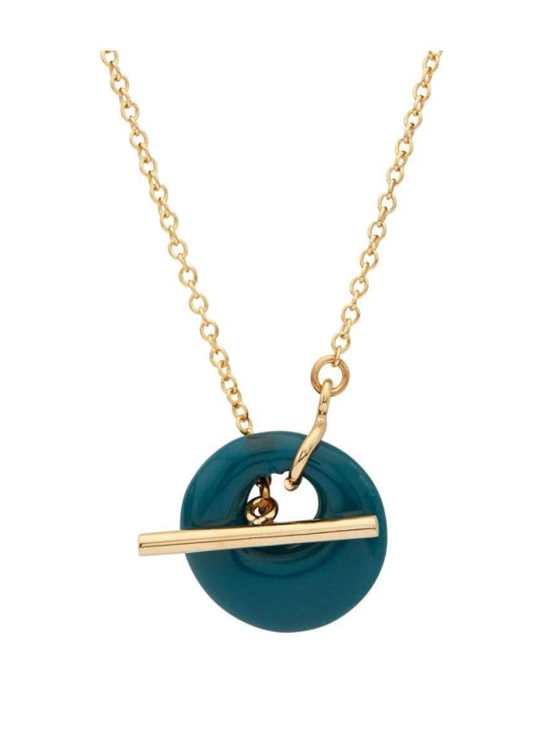 Handcrafted 24K Gold Plated Kazuri Lariat Necklace - Gold / Sea Blue - Front