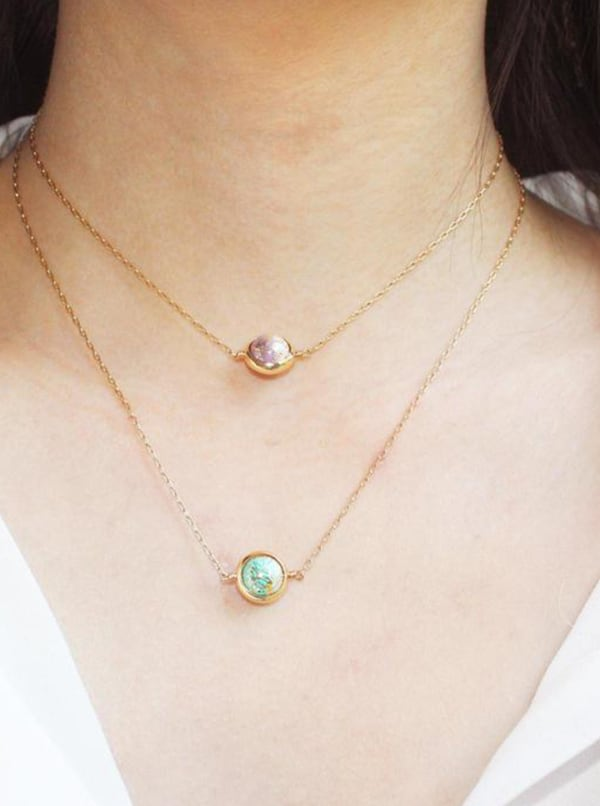 14K Gold Filled Mercury Necklace - Gold - Front