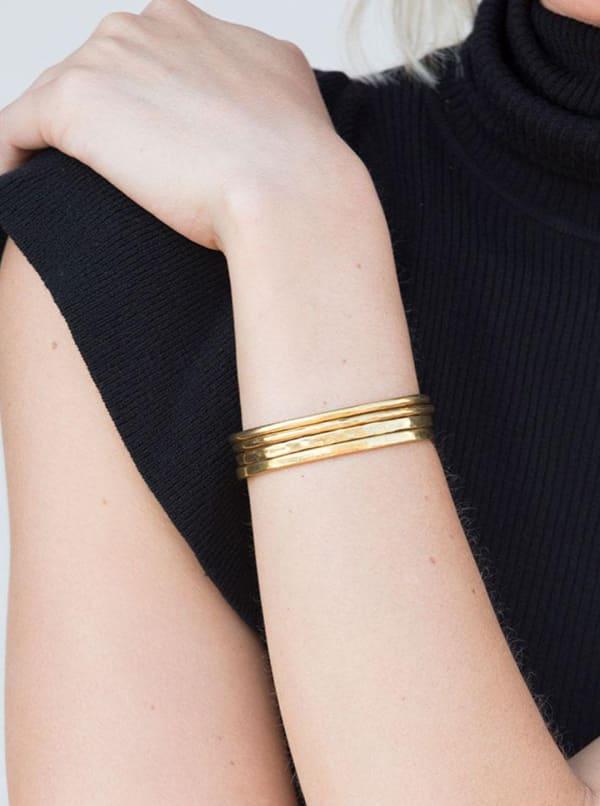 Handcrafted 24K Gold Plated Delicate Bangle Bracelet Set - Gold - Front