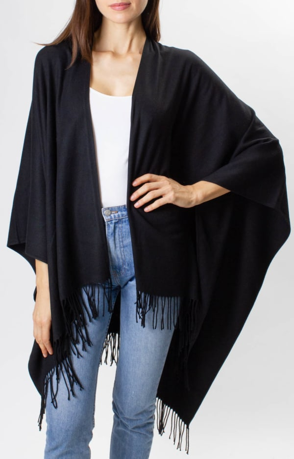 Adrienne Vittadini So soft Color Block Ruana with Fringe - Black - Front