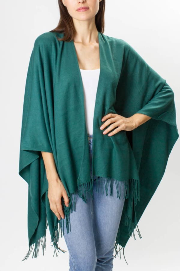 Adrienne Vittadini So soft Color Block Ruana with Fringe - Hunter Green - Front
