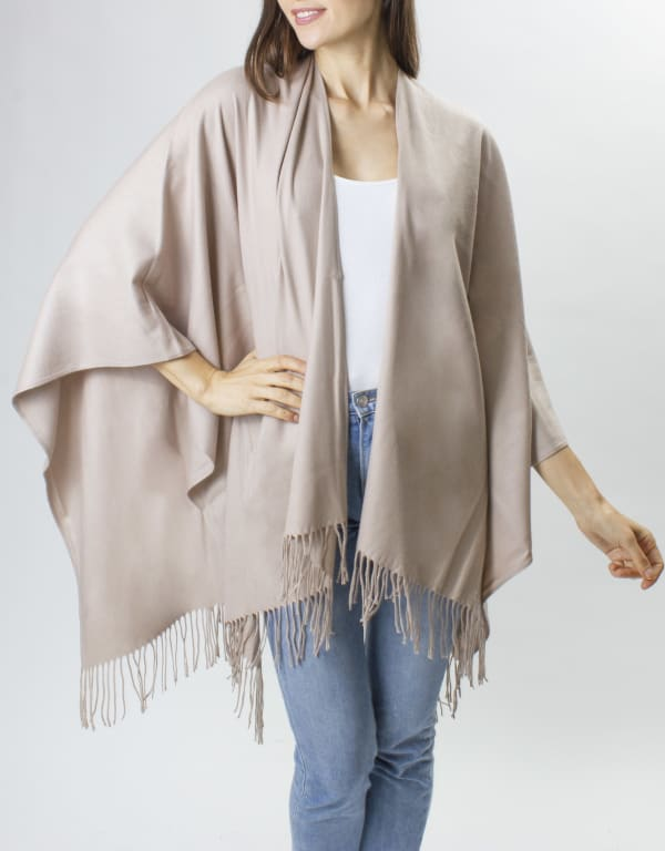 Adrienne Vittadini So soft Color Block Ruana with Fringe - Taupe - Front