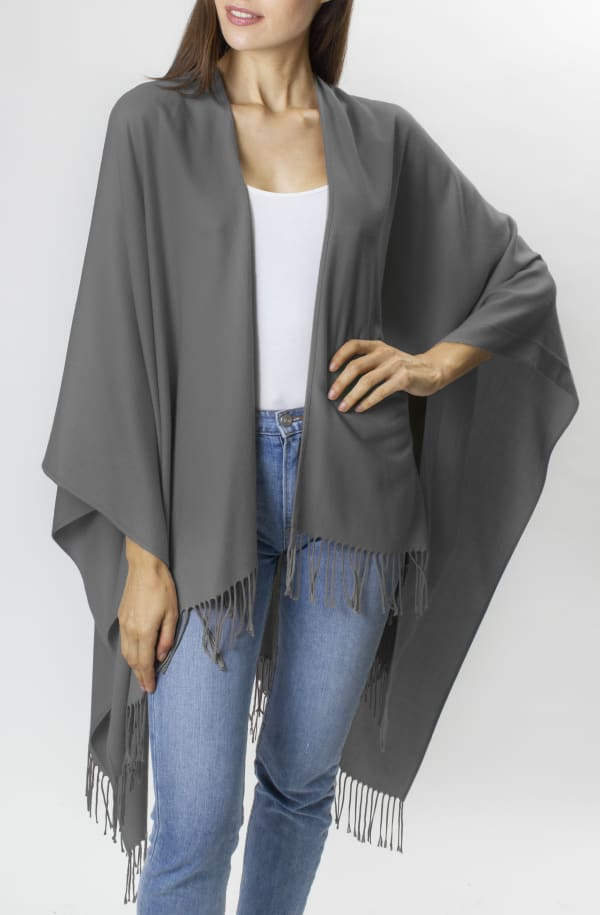 Adrienne Vittadini So soft Color Block Ruana with Fringe - Grey - Front