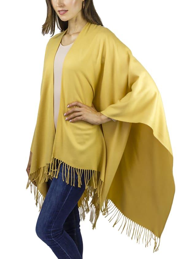 Adrienne Vittadini So soft Color Block Ruana with Fringe - Mustard - Front
