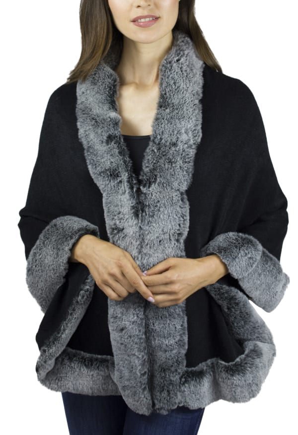 Adrienne Vittadini Solid Knit Ruana with Faux Fur Border - Black / Grey - Front