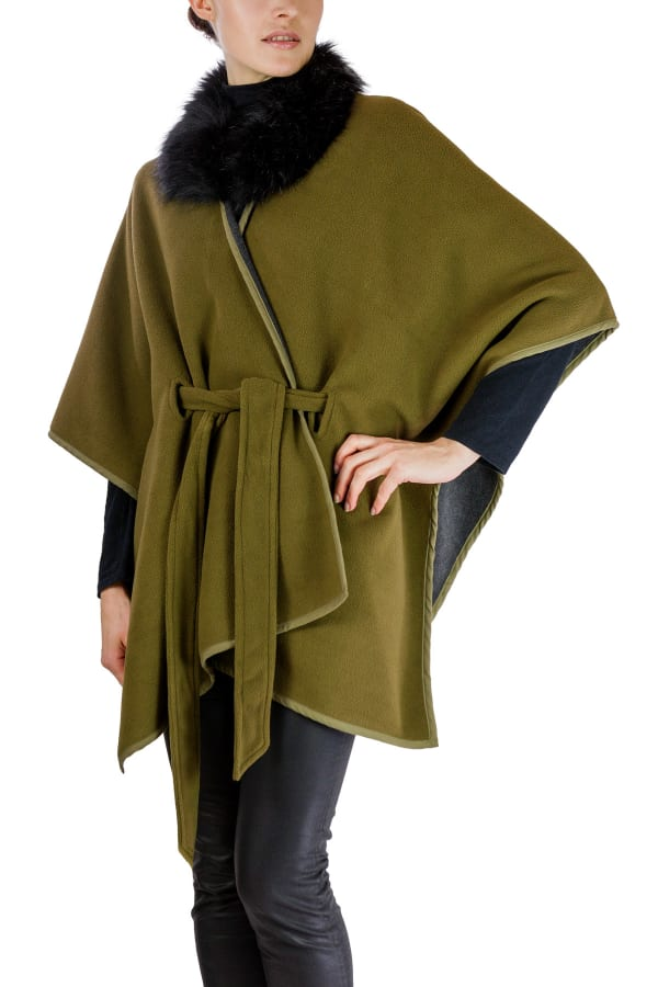 Jones New York Double Polar Fleece Belted with Faux Fur Collar - Olive / Heather Grey - Front