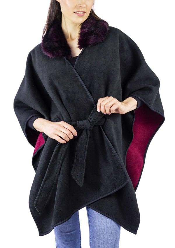 Jones New York Double Polar Fleece Belted with Faux Fur Collar