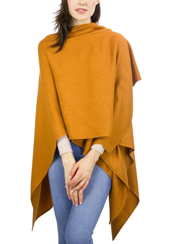 Jones New York Super Soft Herringbone Ruana - Pumpkin - Front