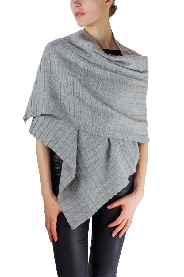 Jones New York Solid Window Pane Knit Shawl - Light Grey - Front