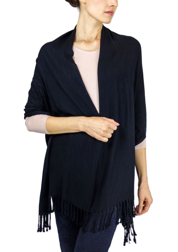 Jones New York Solid Viscose Shawl with Fringes -Black - Front