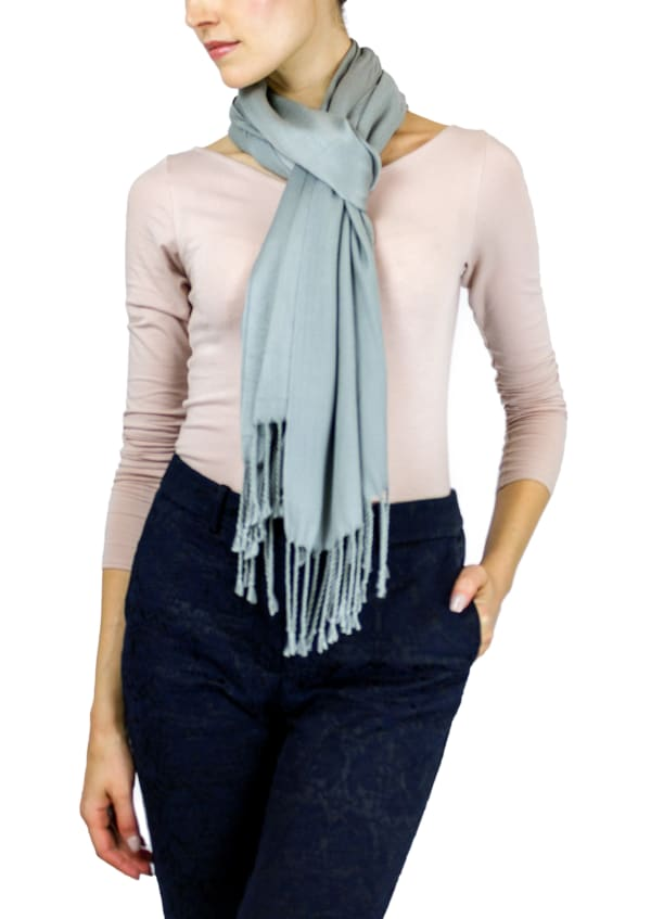 Jones New York Solid Viscose Shawl with Fringes - Gravel - Front
