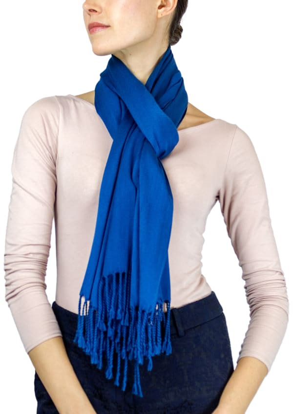 Jones New York Solid Viscose Shawl with Fringes - Teal - Front
