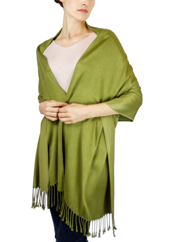 Jones New York Solid Viscose Shawl with Fringes - Olive - Front