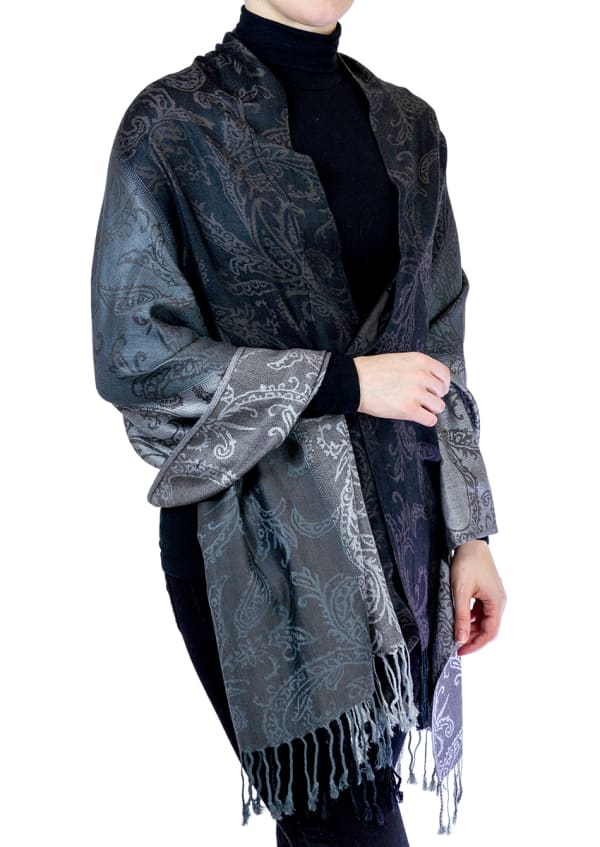 Jones New York Paisley Ombre Shawl with Fringes