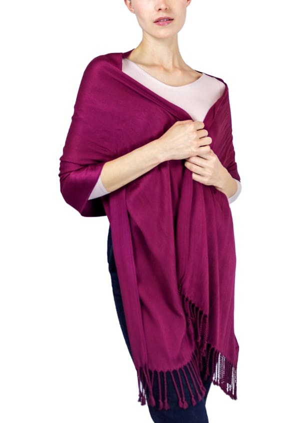 Jones New York Solid Viscose Shawl with Fringes - Berry - Front