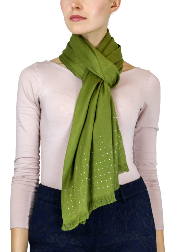 Jones New York Solid Shawl with Studded Border and Frayed Edge - Olive - Front