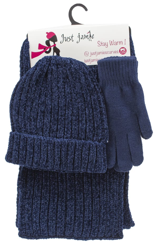 3 Pieces Hat, Scarf, Glove Set with Pom Poms - Navy - Front
