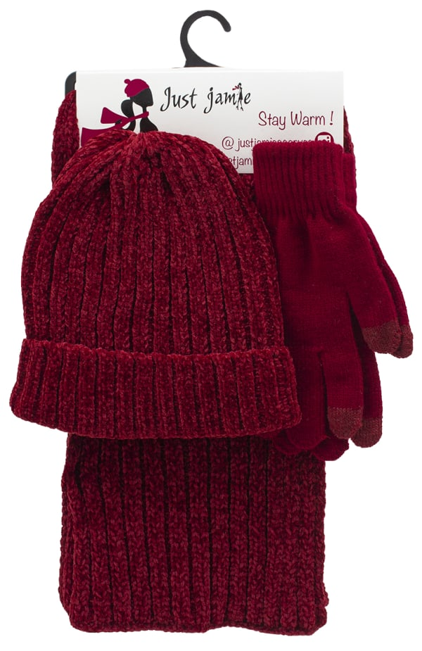 3 Pieces Hat, Scarf, Glove Set with Pom Poms - Wine - Front
