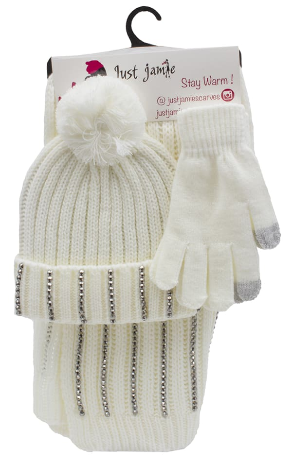 3 Pieces Rib Knit with Stones Hat, Glove, Scarf Set - Ivory - Front