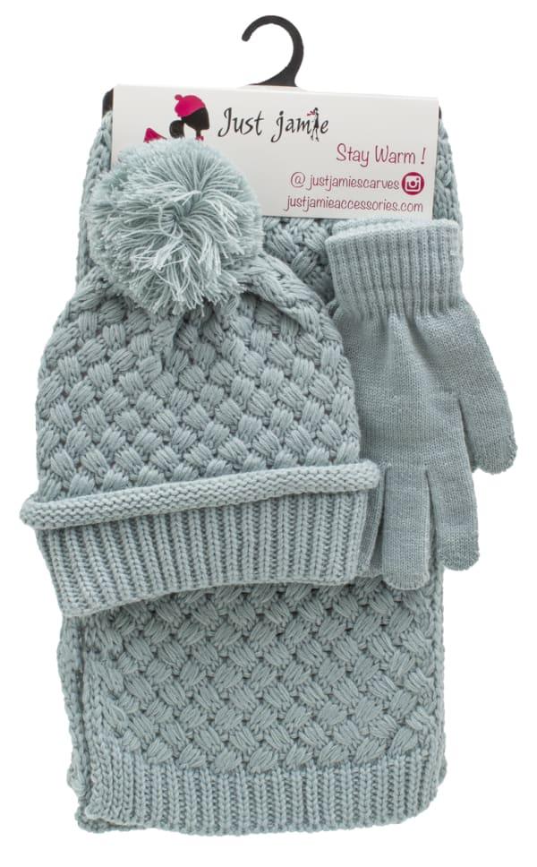 3 Pieces Birdseye Woven Cuff Hat, Glove, Scarf Set - Sea Breeze - Front