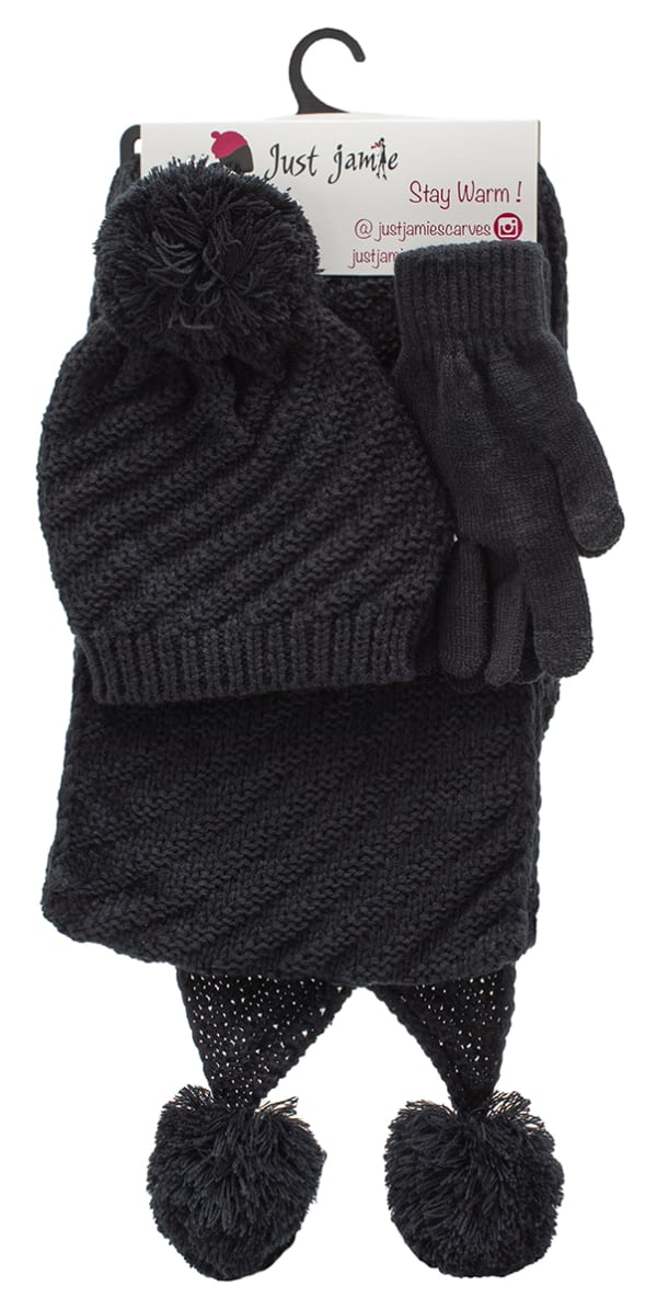 3 Pieces Diagonal Cable Knit Hat, Glove, Scarf Set - Black - Front