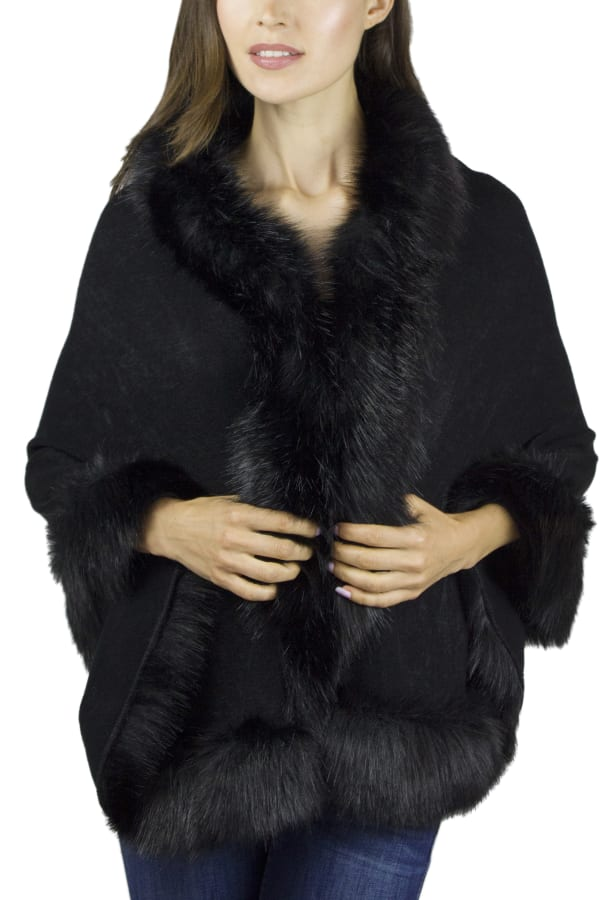 Solid Knit Ruana with Faux Fur Border
