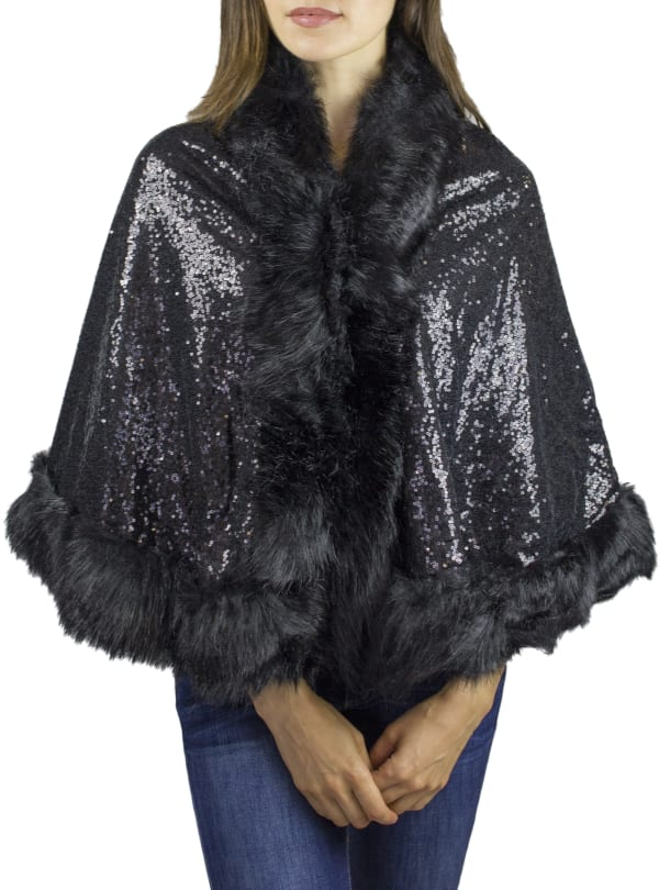 Jessica Mcclintock Knit Ruana with Sequin and Faux Fox
