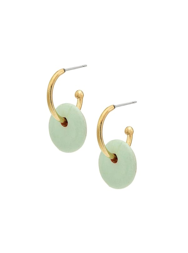 Handcrafted 24K Gold Plated Kazuri Mini Disc Hoop Earrings - Gold / Green - Front