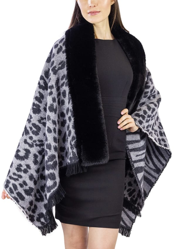 Leopard and Zebra Reversible Ruana with Faux Mink Trim Border