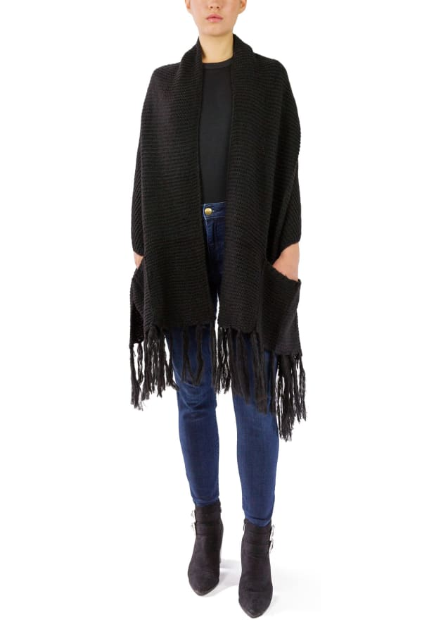 Solid Knit Shawl with Pockets and Fringe