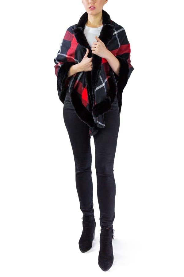 Jessica Mcclintock Plaid Triangle Shawl with Faux Mink Trim Border