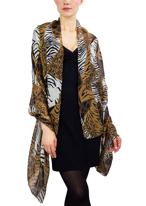 Jessica Mcclintock Patchwork Animal Print Shawl