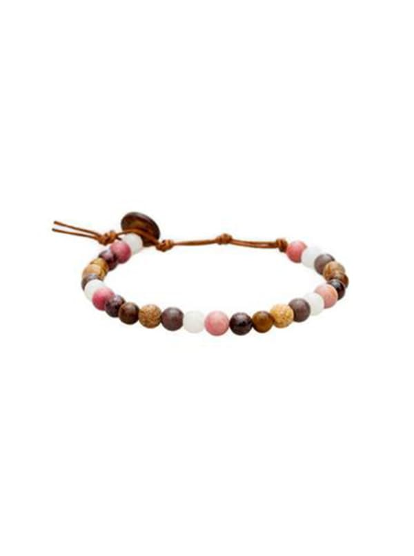 Peace + Healing 6mm Healing Bracelet - Brown / Pink - Front