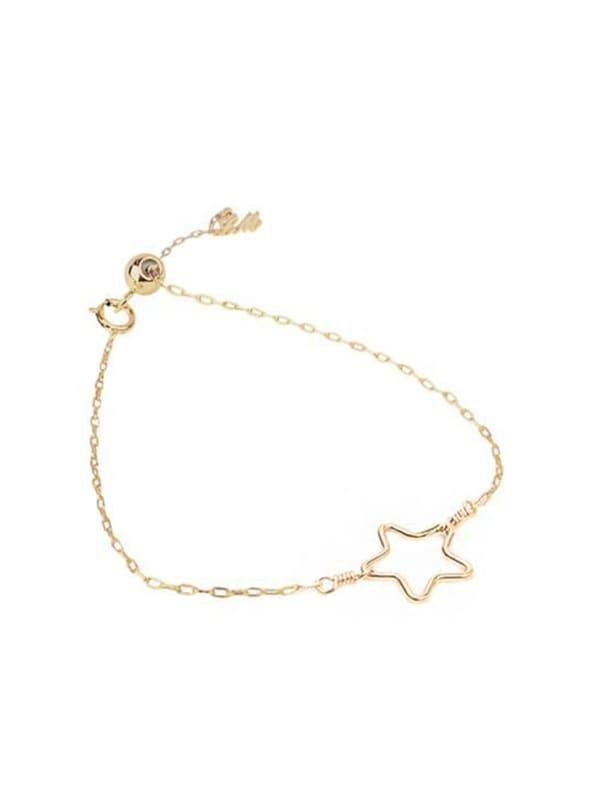 14K Gold Star Bracelet - Gold - Front