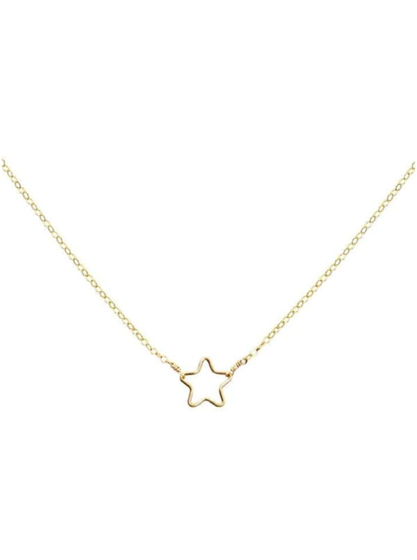 14K Gold Star Necklace - Gold - Front