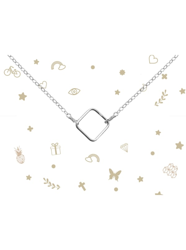 Sterling Silver Square Necklace - Sterling Silver - Front