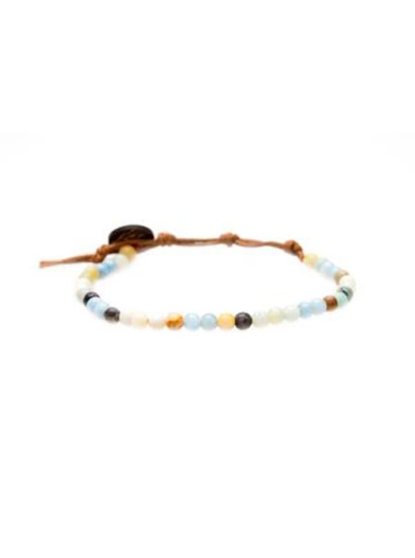 Inner Peace 4mm Healing Bracelet - Blue / Orange - Front