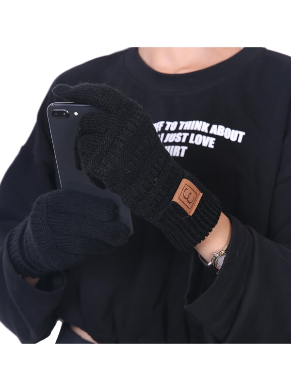CC CHIC Women's Knit Winter Anti-Slip Touchscreen Gloves - Black - Front