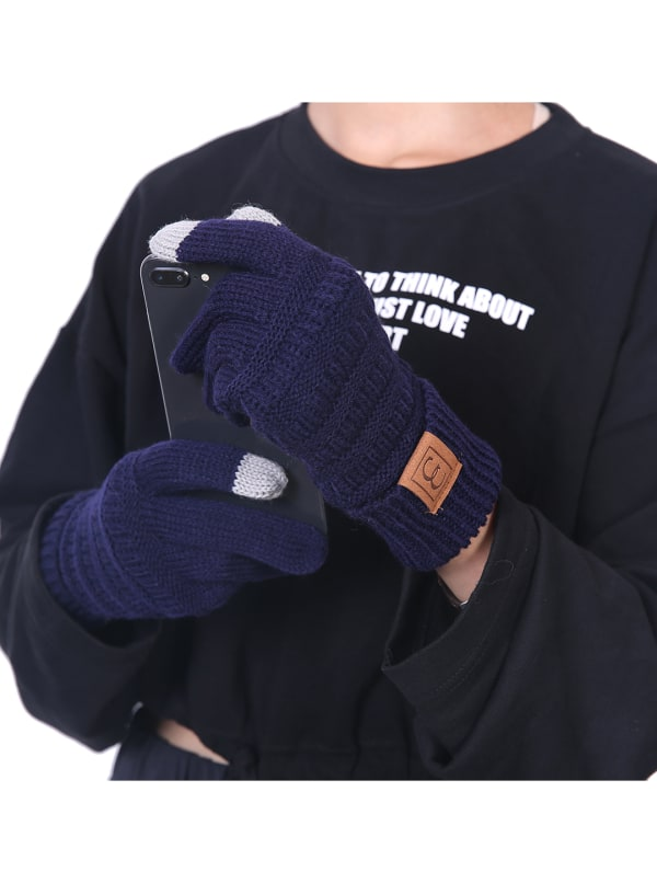 CC CHIC Women's Knit Winter Anti-Slip Touchscreen Gloves - Navy blue - Front