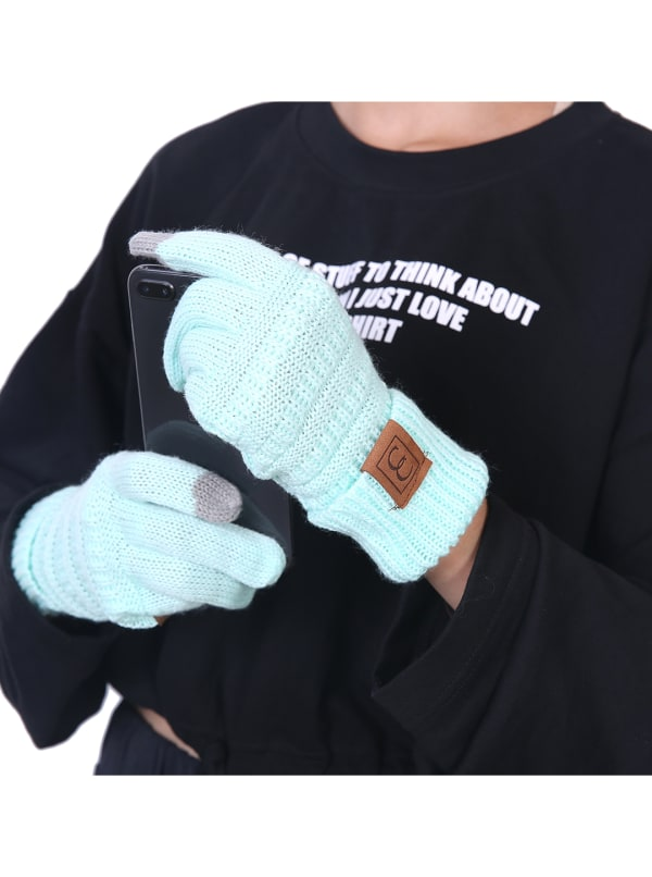 CC CHIC Women's Knit Winter Anti-Slip Touchscreen Gloves - Turquoise - Front