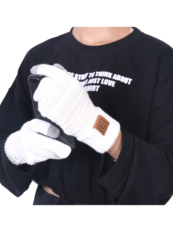 CC CHIC Women's Knit Winter Anti-Slip Touchscreen Gloves - White - Front